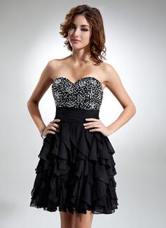 A-Line/Princess Sweetheart Knee-Length Chiffon Cocktail Dress With Beading Cascading Ruffles