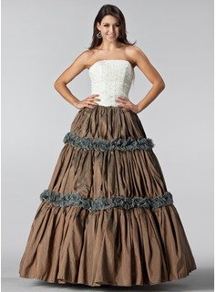 Ball-Gown Strapless Floor-Length Taffeta Lace Quinceanera Dress With Ruffle