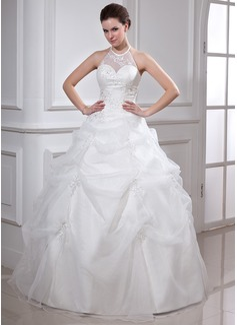 Duchesse-Linie Träger Bodenlang Organza Quinceañera Kleid (Kleid für die Geburtstagsfeier) mit Rüschen Perlen verziert Applikationen Spitze