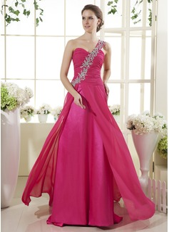 A-Line/Princess One-Shoulder Sweep Train Chiffon Prom Dress With Ruffle Beading
