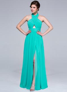 A-Line/Princess Halter Floor-Length Chiffon Holiday Dress With Ruffle Split Front