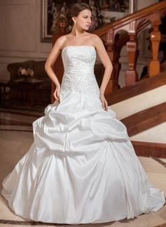Corte de baile Estrapless Tren de la corte Tafetán Vestido de novia con Bordado Volantes Bordado