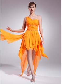 A-Line/Princess One-Shoulder Asymmetrical Chiffon Homecoming Dress With Beading Cascading Ruffles