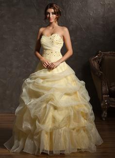 Duchesse-Linie Herzausschnitt Bodenlang Organza Quinceañera Kleid (Kleid für die Geburtstagsfeier) mit Rüschen Perlen verziert