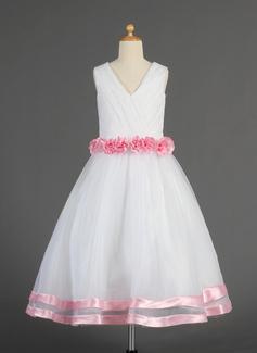 A-Line/Princess Tea-length Flower Girl Dress - Organza/Satin Sleeveless V-neck With Flower(s)