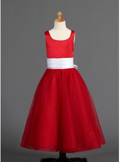 A-Line/Princess Floor-length Flower Girl Dress - Satin/Tulle Sleeveless Scoop Neck With Sash/Bow(s)