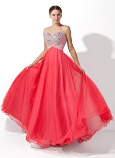 Corte A/Princesa Escote corazón Hasta el suelo Tul Vestido de baile de promoción con Bordado