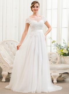 Corte A/Princesa Escote redondo Barrer/Cepillo tren Tul Charmeuse Encaje Vestido de novia con Bordado Lentejuelas