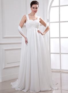Empire Sweetheart Watteau Train Chiffon Wedding Dress With Lace Beading