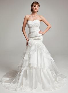 Trumpet/Mermaid Sweetheart Court Train Organza Wedding Dress With Beading Cascading Ruffles