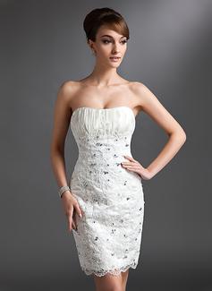 Sheath/Column Sweetheart Knee-Length Lace Wedding Dress With Ruffle Beading