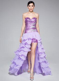 Corte A/Princesa Escote corazón Asimétrico Desmontable Chifón Charmeuse Con lentejuelas Vestido de baile de promoción con Bordado Cascada de volantes