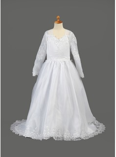 A-Line/Princess Sweep Train Flower Girl Dress - Organza Long Sleeves V-neck With Embroidered