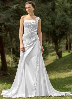 A-linjeformat One-Shoulder Chapel släp Charmeuse Bröllopsklänning med Rufsar Pärlbrodering Applikationer Spetsar
