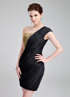 Sheath/Column One-Shoulder Short/Mini Chiffon Sequined Cocktail Dress With Ruffle Beading