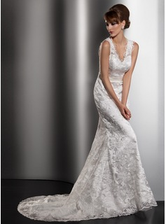 Trumpet/Mermaid V-neck Court Train Lace Wedding Dress With Bow(s)