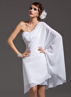 Sheath/Column One-Shoulder Asymmetrical Chiffon Holiday Dress With Beading