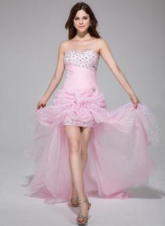 Corte A/Princesa Escote corazón Asimétrico Organdí Vestido de baile de promoción con Volantes Bordado Flores