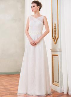 Corte A/Princesa Escote en V Hasta el suelo Tul Charmeuse Encaje Vestido de novia con Volantes Bordado Lentejuelas Lazo(s)
