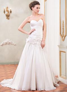 Corte A/Princesa Escote corazón Cola corte Tafetán Vestido de novia con Volantes Bordado Flores Lentejuelas
