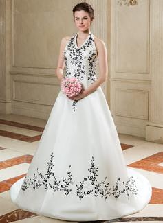 Corte A/Princesa Cabestro Cola corte Satén Vestido de novia con Bordado