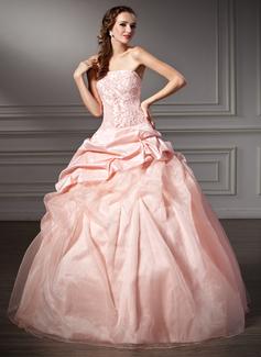 Duchesse-Linie Trägerlos Bodenlang Taft Organza Quinceañera Kleid (Kleid für die Geburtstagsfeier) mit Rüschen Spitze Perlen verziert