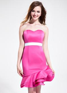 Vestido tubo Escote corazón Asimétrico Satén Dama de honor con Fajas Cascada de volantes