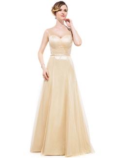 A-Line/Princess V-neck Floor-Length Charmeuse Bridesmaid Dress With Ruffle Bow(s)