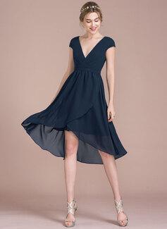 A-Line/Princess V-neck Asymmetrical Chiffon Bridesmaid Dress