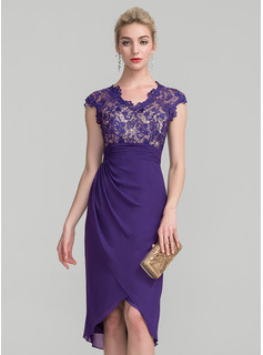 Sheath/Column V-neck Asymmetrical Chiffon Lace Mother of the Bride Dress With Ruffle