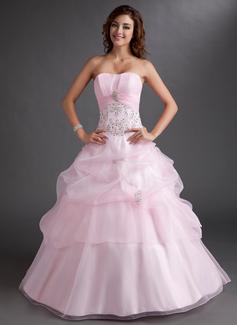 Duchesse-Linie Herzausschnitt Bodenlang Organza Quinceañera Kleid (Kleid für die Geburtstagsfeier) mit Bestickt Rüschen Perlen verziert Pailletten