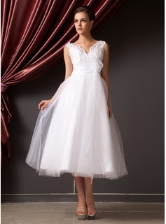 A-Line/Princess V-neck Tea-Length Organza Tulle Wedding Dress With Lace Beading Flower(s) Sequins