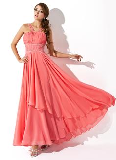 Corte A/Princesa Escote en V Hasta el suelo Chifón Vestido de baile de promoción con Volantes Bordado Lentejuelas