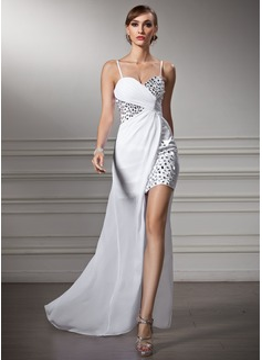 Vestido tubo Escote corazón Asimétrico Chifón Vestido de baile de promoción con Volantes Bordado
