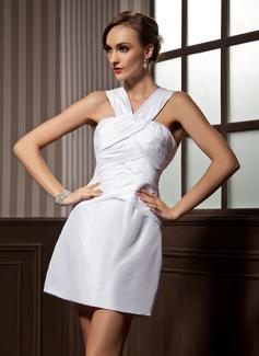Sheath/Column V-neck Short/Mini Taffeta Cocktail Dress With Ruffle