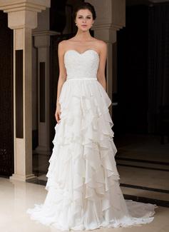 Corte A/Princesa Escote corazón Barrer/Cepillo tren Charmeuse Vestido de novia con Bordado Cascada de volantes