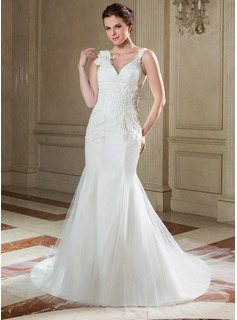 Trumpet/Mermaid V-neck Chapel Train Tulle Wedding Dress With Ruffle Lace Beading Flower(s) Sequins