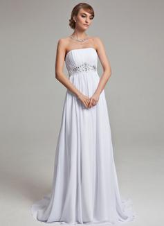 Empire Strapless Court Train Chiffon Wedding Dress With Ruffle Beading