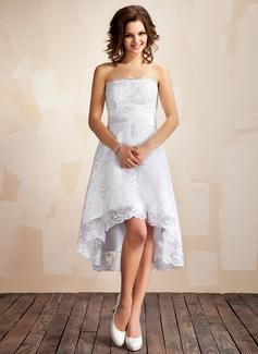 A-linjeformat Axelbandslös Asymmtrisk Spetsar Bröllopsklänning