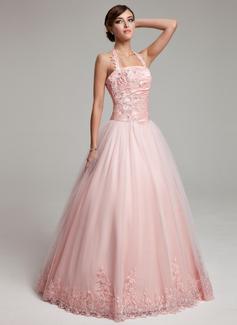 Duchesse-Linie Träger Bodenlang Tüll Quinceañera Kleid (Kleid für die Geburtstagsfeier) mit Rüschen Perlen verziert Applikationen Spitze