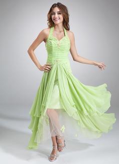 Corte A/Princesa Cabestro Asimétrico Chifón Vestido de festivo con Volantes Bordado Los appliques Encaje Lentejuelas