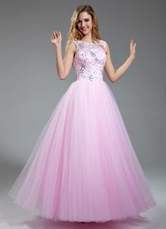 Corte A/Princesa Escote redondo Vestido Satén Tul Vestido de baile de promoción con Encaje Bordado Lentejuelas