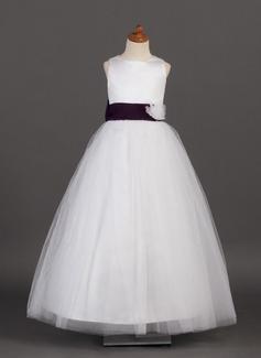 Prinsesse Satin/Tyl pige kjole med Bælterem/Blomst(er)/Sløjfer