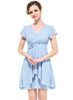 A-Line/Princess V-neck Short/Mini Chiffon Bridesmaid Dress With Flower(s) Cascading Ruffles