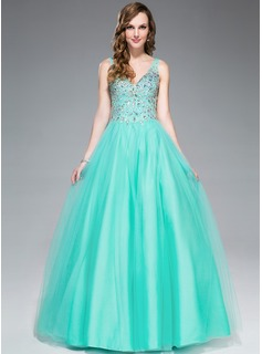 Ball-Gown V-neck Floor-Length Tulle Prom Dress With Beading Sequins