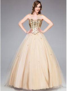 Ball-Gown Sweetheart Floor-Length Tulle Prom Dress With Beading