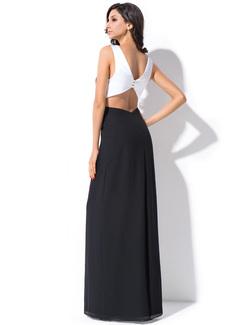 Sheath/Column V-neck Floor-Length Chiffon Holiday Dress With Ruffle Bow(s)