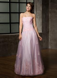 A-Linie/Princess-Linie Trägerlos Bodenlang Organza Quinceañera Kleid (Kleid für die Geburtstagsfeier) mit Rüschen Perlen verziert Applikationen Spitze