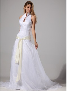 A-Line/Princess Halter Court Train Organza Wedding Dress With Sash