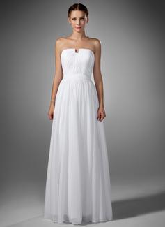 A-Line/Princess Sweetheart Floor-Length Chiffon Prom Dress With Ruffle